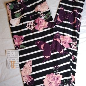 NEW TC LULAROE LEGGINGS ~ BUTTERFLY + ROSES PRINT